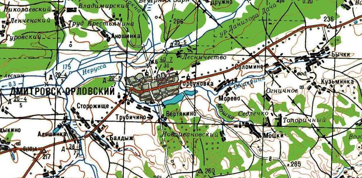 Карта местности Дмитровского р-на Орловской обл., где воевал Отдельный лыжный батальон 69-й сд в 1943-м году и где погиб Ахмедшин Ахмедкашиф