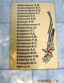 Новая мемориальная доска у памятника, где занесено и имя дяди - Ахмедшина К.М.