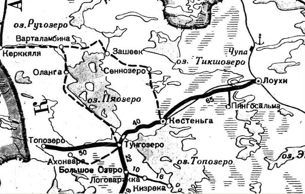 Старая карта, где видно расположение д. Оланга - штаба 72-го ПОГО в 1941 году